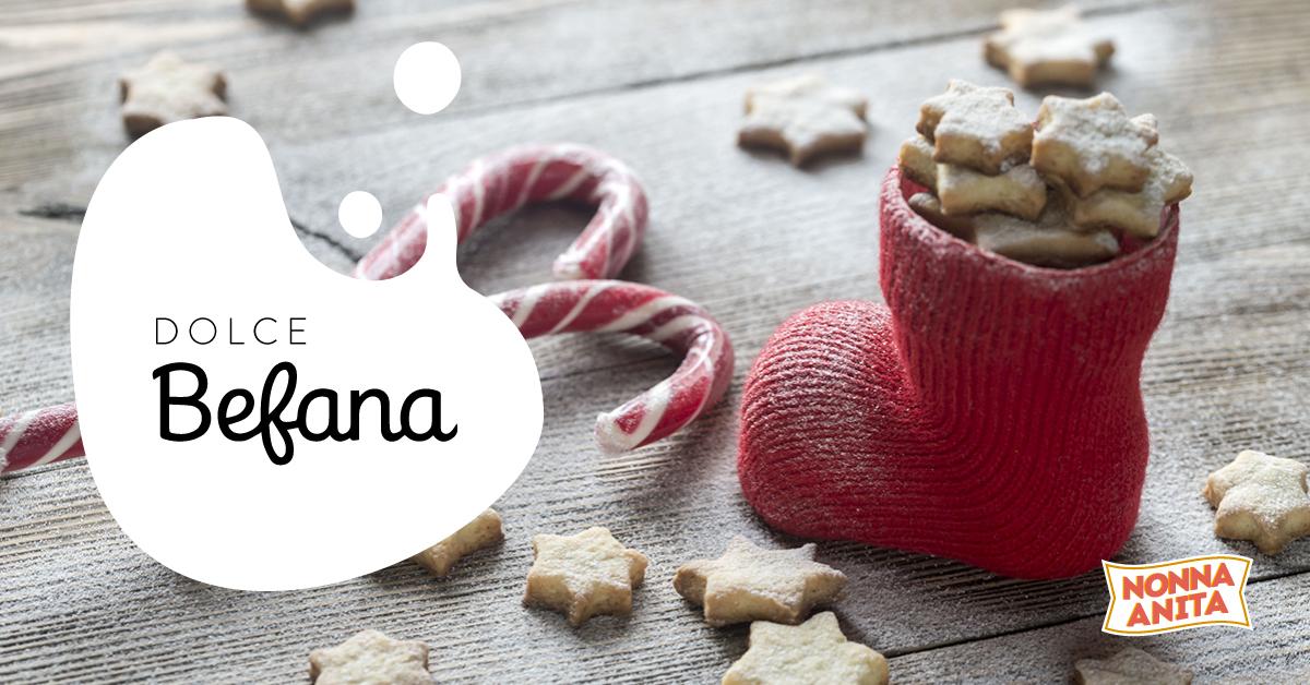 Calza Befana ripiena di biscotti stella, Nonna Anita