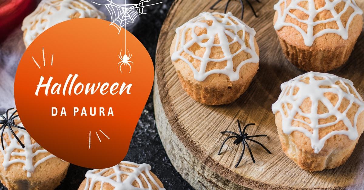 Muffin con effetto ragnatela su tavolo per Halloween, Nonna Anita