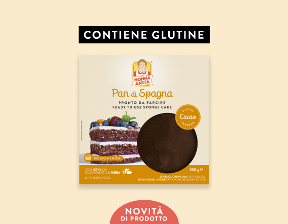 Pan di Spagna al cacao con glutine pronto da farcire